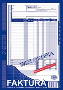 100-1E Faktura wzór pełny dla prowadzących sprzedaż w cenach netto