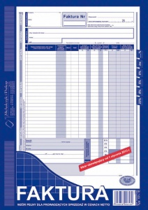 101-1E Faktura wzór pełny dla prowadzących sprzedaż w cenach netto