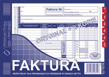 103-XE Faktura wzór pełny dla prowadzących sprzedaż w cenach netto