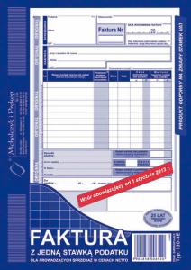 130-3E Faktura z jedną stawką podatku dla prowadzących sprzedaż w cenach netto