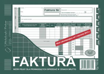 143-3E Faktura wzór pełny dla prowadzących sprzedaż w cenach brutto