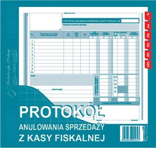 171-2 Protokół anulowania sprzedaży z kasy fiskalnej