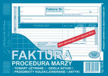 195-3E Faktura procedura marży - tow. używane/ - dz. sztuki/ - przedm. kolekc. i antyki