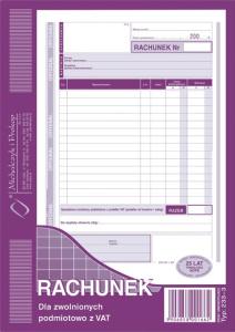 233-3 Rachunek dla zwolnionych podmiotowo z VAT