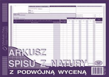 342-1 Arkusz spisu z natury z podwójną wyceną (uniwersalny)