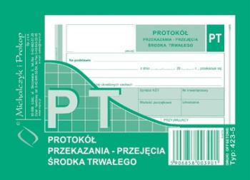 423-5 PT protokół przekazania/przyjęcia środka trwałego