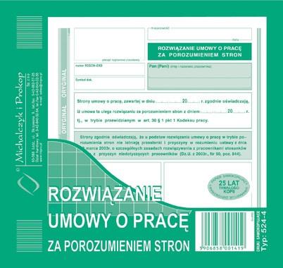 Michalczyk I Prokop Druk Rozwiązanie Umowy O Pracę Za