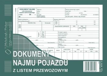 809-3 Dokument najmu pojazdu z listem przewozowym
