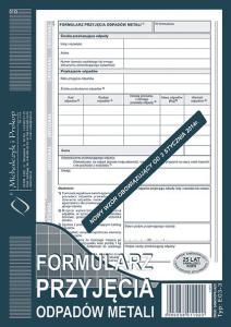 E03-3 Formularz przyjęcia odpadów metali
